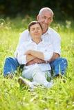 Se reposer supérieur de couples décontracté en nature en été Photographie stock libre de droits