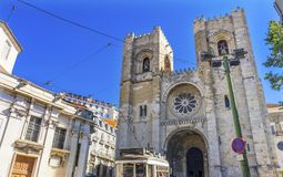 The Se Cathedral Trolley Lines Lisbon Portugal Stock Images