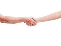 Se serrant la main de deux personnes masculines, photo libre de droits