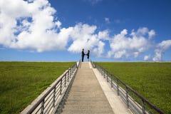 Se serrer la main sur le dessus des escaliers Image libre de droits