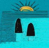 Se solnedgången vid havet Bl?tt- och gulingf?rger stock illustrationer
