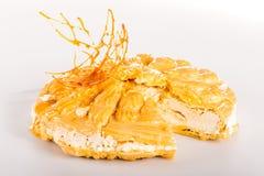 Süße Spitze des sahnigen Nachtischs des Karamells Stockbilder