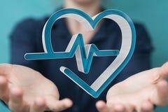 Se tenir de femme d'affaires et rendu médical émouvant de l'icône 3D Images stock