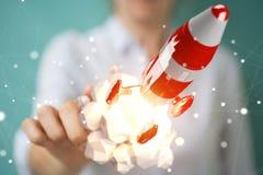 Se tenir de femme d'affaires et rendu rouge émouvant de la fusée 3D Images stock