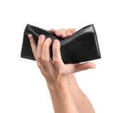 Se tenir de mains ouvrent un portefeuille vide photographie stock