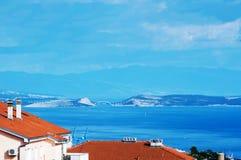 Se till den Krk ön från min balkong Arkivfoton