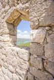 Se till och med ett fönster i väggarna av Ston Fotografering för Bildbyråer