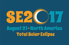 SE2017 typography design for solar eclipse Royalty Free Stock Photo