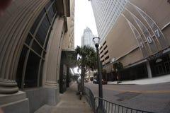 Se upp på två byggnader Royaltyfri Foto