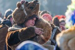 Se vem ` s under björnmaskeringen royaltyfria bilder