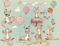 Free Se With Little Kangaroo And Balloons Royalty Free Stock Images - 125460589