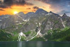 Sea湖的眼睛日落的 库存照片