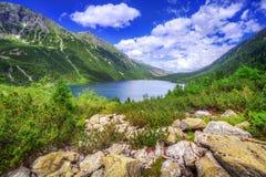 Sea湖的眼睛Tatra山的 免版税库存图片