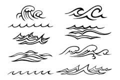 Sea €‹waves stylized sketch. Hand-drawn vector sketch. Sea waves set of different shapes and speakers isolated on white background vector illustration