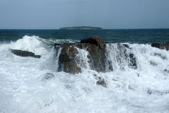 Sea ​​and island 19. Surf on the coast of the Black Sea in Bulgaria in the spring Stock Photo