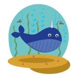 Sea background with whale unicorn-childish illustration royalty free illustration
