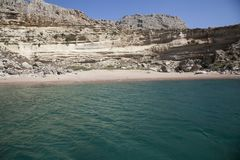 Sea beach in greece. Boat in greece on the island of Rhodes Royalty Free Stock Photography