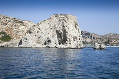 Sea beach in greece. Views of the coast and beach activities on the sea in greece Stock Photo