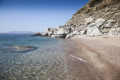 Sea beach in greece. Views of the coast and beach activities on the sea in greece Stock Photos