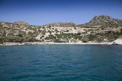 Sea beach in greece. Views of the coast and beach activities on the sea in greece Royalty Free Stock Images