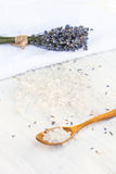 Sea ​​salt bath with lavender. On the table Stock Image