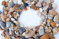 Sea ​​Stones. Frame of sea shells and stones Stock Photo