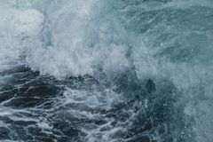 Sea water moving by motor boat stock images