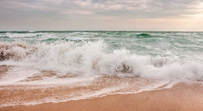 Sea ​​waves running on sandy beach. Green and mighty sea wave craches on sandy beach Stock Photo