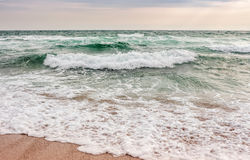 Sea ​​waves running on sandy beach. Green and mighty sea wave craches on sandy beach Royalty Free Stock Photos