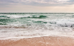 Sea ​​waves running on sandy beach. Green and mighty sea wave craches on sandy beach Royalty Free Stock Photography