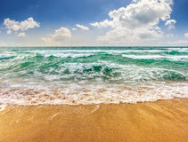Sea waves running on sandy beach. Green and mighty sea wave craches on sandy beach and break royalty free stock photography