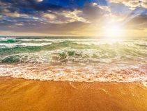 Sea waves running on sandy beach at sunset. Green and mighty sea wave craches on sandy beach and break in evening light royalty free stock photography