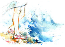 Sea. waves and splashes on the legs stock illustration