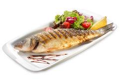 Sea ​​bass grill. Ed with salad stock photography