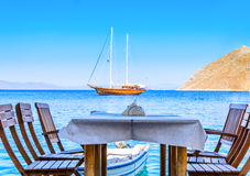 Sea ��view from cafe Royalty Free Stock Photos