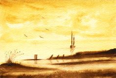 The Sea. A sepia painting of the sea shore Stock Image