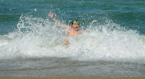 Sea. The teenager bathe in the sea Royalty Free Stock Photos