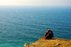 Sea. Loving couple on the coast of sea Royalty Free Stock Image