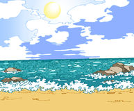Sea. The figure blue sea.Yellow sand and sunny skies with white clouds.Additionally, a vector EPS format Stock Photo