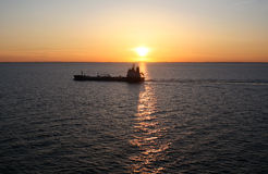 On the sea #2. Baltic sea. Sunset, viewed from ship deck Royalty Free Stock Images