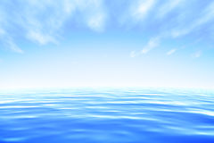 Sea. Abstract blue water under blue sky. Render Stock Photos
