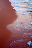 Sea. Image of beach scenery with golden sand and blue sea water wave Royalty Free Stock Images