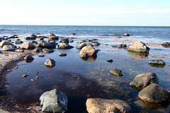 Sea. Landscape with big stones in the water Royalty Free Stock Photography