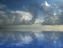 Sea. Stormy sky above blue sea Royalty Free Stock Image