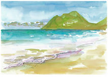 The sea. Hand painted picture, view at the sea Royalty Free Stock Photography