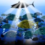 Sea Abyss Stylized Fish Background. Landscape of the sea abyss with stylized fishes, algae and sea urchins Stock Photography