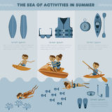The sea of activities in summer  set Stock Photography