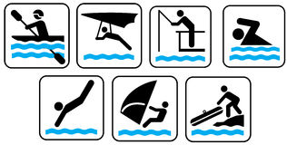 Sea activity icons Royalty Free Stock Images