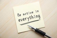 Sea activo en todo Foto de archivo libre de regalías