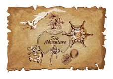 Sea  adventure ancient poster Royalty Free Stock Image